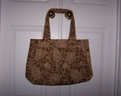 Large , Floral Print , Handbag , Tote , Waverly Fabric , Brown & Beige , Pleated Center , Cotton Lining , Handmade