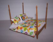 Dollhouse Miniature - Comforter - Bedspread - 3 Pillows - Lined - Spring - Floral Design - Handmade - 1:12 Scale