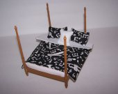 Dollhouse Miniature - Bedspread - Comforter - Bedding - Lined - 3 Pillows - Music Notes - Teen Room - Handmade - 1:12 Scale