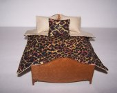 Dollhouse Miniature | Comforter Set With Pillows | Matching Rug | Animal Print | Tan Lining | 1:1 2 Scale | Handmade