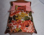 Comforter Set , Dollhouse Miniature , 1:12 Scale , Handmade , Floral Print , Multi Color 2 Matching Pillows , Doll Bedding , Lined Comforter