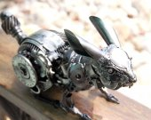 Rabbit metal art sculpture recycled artwork