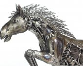Metal horse sculpture recycled spare part artwork