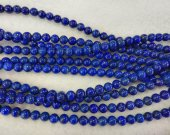 AA Rated Genuine (Natural)Lapis Lazulie Beads Round Ball Blue Gold Lapis  Gemstone 3-12mm full strand