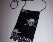 Pouch / Crossover Phone case Small Scull & Crossbones Black Lace Bottom Edge