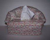Tissue Holder Sofa Shaped Complete with 2 Matching Pillows Floral Pattern Handmade 100% Cotton Fabric Novelty Decor Home Decor Accessories