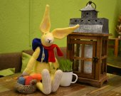 Easter Bunny with carrot and basket of eggs
