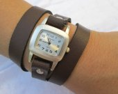Leather Wrap Watch Silver Bracelet Antique Watch- brown Genuine leather retro Watch- bracelet Cuff Watch- Men™s Women™s unisex wrist watch