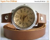 Girl Leather Wrap Watch Silver Bracelet taupe leather Watch- brown leather Watch- bracelet Cuff Watch- Women™s watches - women wriist watch