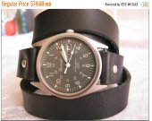 Army Military Style Watch Leather Wrap Watch unisex army style Wrap Bracelet Watch with black real leather band with day and date
