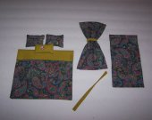 Dollhouse Miniature Comforter Set With Matching Curtains Paisley Print Multi-Color Handmade New Item!