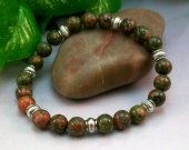 Unakite Rounds Stretch Bracelet