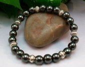 Hematite Rounds Stretch Bracelet