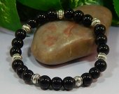 Black Obsidian Rounds Stretch Bracelet