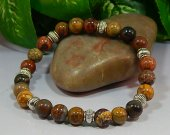 Red Creek Jasper Rounds Stretch Bracelet