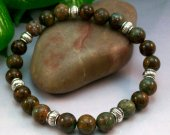 Green Opal Rounds Stretch Bracelet