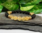 Citrine and Black Obsidian Stretch Bracelet