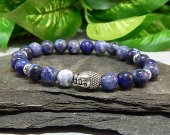 Sodalite Stretch Bracelet with Silver Buddha