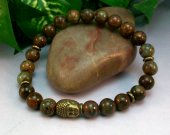 Green Opal Rounds Stretch Bracelet with Brass Buddha