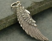 Large Sterling Silver Angel Wing Charm