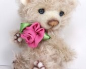 teddy bear Mika mohair, Teddy bear artist,  collectible bear, mohair