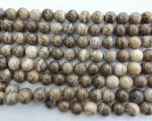 2strands 4-12mm GEM Picture JASPER Beads in Golden Brown and Tan,  Round Ball Grey Jasper beads