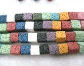wholesale 2stands 8-16mm Rainbow Lava volcanic gem Cube Box Square White ivory white yellow red blue assorted lava stone beads