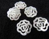 12pcs 15-25mm shell connector filigree  Natural White MOP Shell Rose Pendants White Shell Rose Connector
