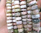 2strands 8-12mm Assorted  Pink Opal  Natural Quartz Matted Rondelle Beads Frosted Raw Crystals Gems Heishi Disc Loose Beads Necklace Bulk