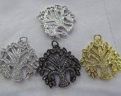 Wholesale 6pcs 20-35mm  Micro Pave Diamond Snow Flake Pendant  Finding  Snow Tree Pave diamond Pendant- Gunmetal  Pave Arrrowhead