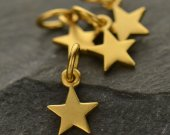 Satin 24K Gold Plated Small Star Charm 10PK