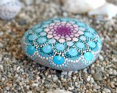 Rock Art, Hand Painted Rock, Painted Stone, Stone Art, Mandala Design, Floral Art, Natural Home Decor, Gift,