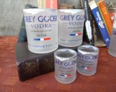 Grey Goose Bottle Upcycled glass set 2-1L + 2 shotglasses Mancave Bar Saloon Tavern Home Vodka Lover Wedding Groomsman Unique Trendy Upscale