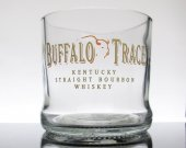 Buffalo Trace Whiskey upcycled glass tumbler  Groomsman Mancave Gift Toasting Wedding Bachelorette Parties Unique Trendy Upscale Banquet