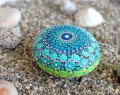 Blue Hand Painted Rock, Painted Stone, Stone Art, Mandala Design, Floral Art, Natural Home Decor, Gift,