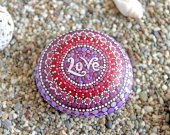 Love Painted Rock, Painted Stone, Stone Art, Mandala Design, Floral Art, Natural Home Decor, Gift,