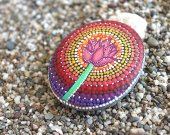Flower Painted Stone, Stone Art, Mandala Design, Floral Art, Natural Home Decor, Gift,