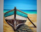 Acrylic Paintıng  Boat 43x31 inch