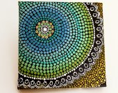 "Dot Painting, Earth Design by Biripi Artist Raechel Saunders, Authentic Aboriginal Art, 4"" x 4"" canvas board, Acrylic Paint, brown decor"