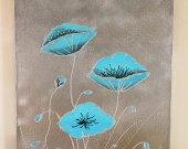 Silver flowers Acrylic Paintıng 60*40