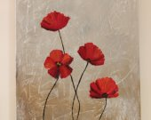 Red silver flowers Acrilik paint 60*40