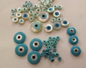 24pcs 6-12mm High Quality  Shell Jewelry blue white mother of pearl shell Turkish evil eye beads round loose beads  DIY findings supplies