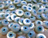 High Quality  Shell Jewelry blue white mother of pearl shell Turkish evil eye beads round loose beads  DIY findings supplies 24pcs 6-12mm