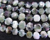 Myanmar Jade BARGAIN  original  Burmese Jadeite square box nuggets faceted Jade necklace  12-6mm full strand
