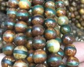 New Aarrive 2strands 8-16mm Tibetan Dzi Beads, Round Ball Green Agate Natural Stone  Evil Veins Tibetan Agate Stones brown green Stone
