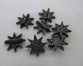 12pcs 16mm Handmade   Micro  Pave Diamond  gunmetal Jewelry star Gold Silver Jewelry beads connector finding