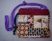 small purse,  drawstring, farm animal quilt print, cloth strap, drawstring with spring button closure