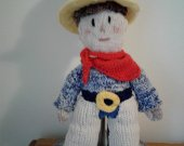 Tex,the hand knit cowboy! right at home in your home.