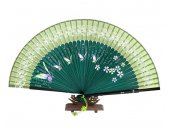 Handmade silk fan with free case - green