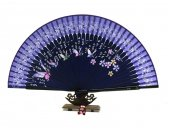 Handmade silk fan with free case - blue